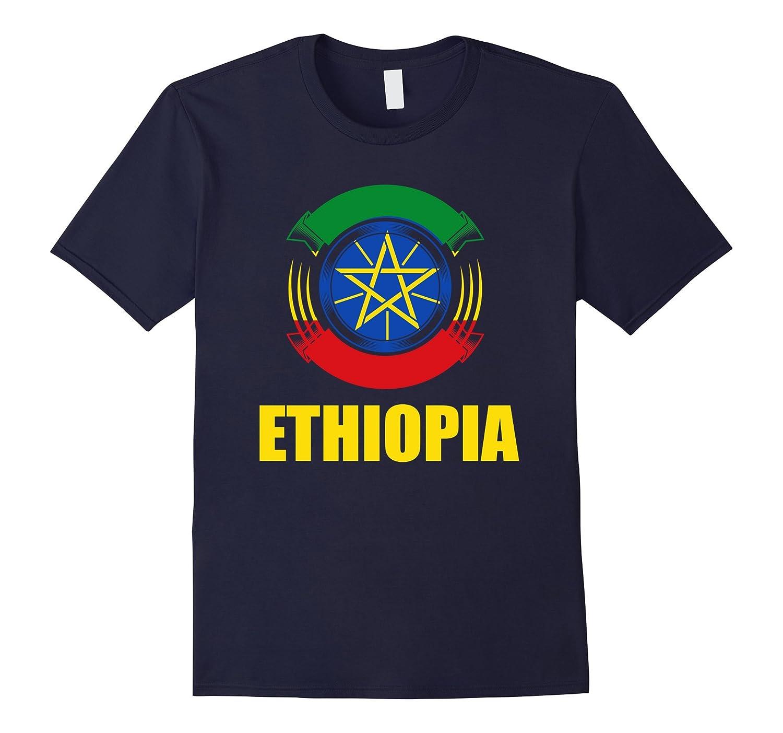 Ethiopia Flag Badge Pride Gift T-Shirt-TH