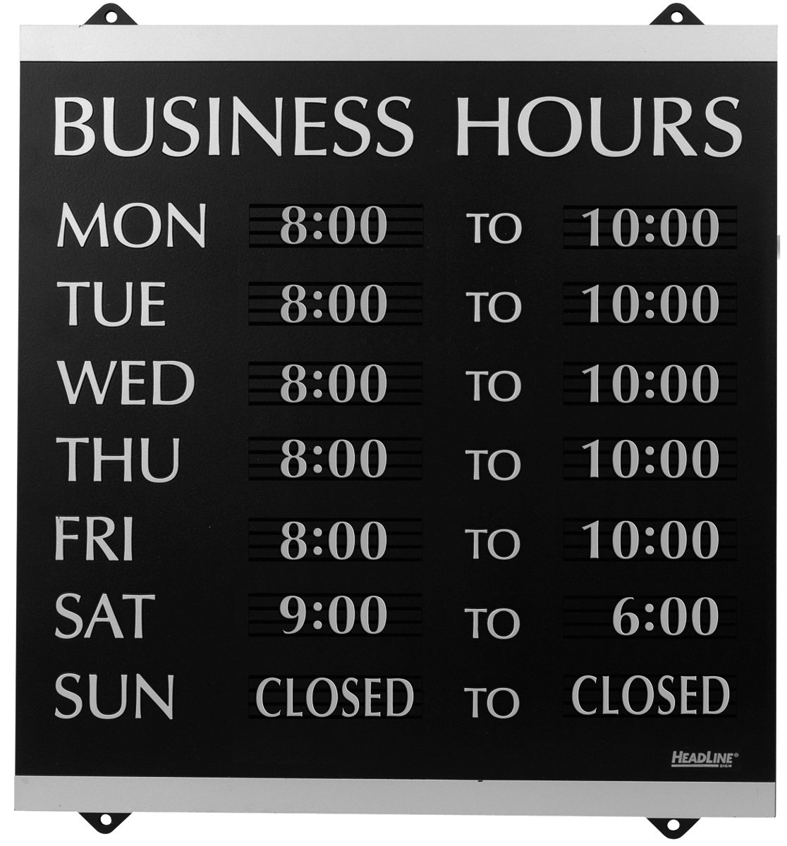 Headline Sign Headline Century Series 14X13 Inch Business Hours Sign Black An.. 2