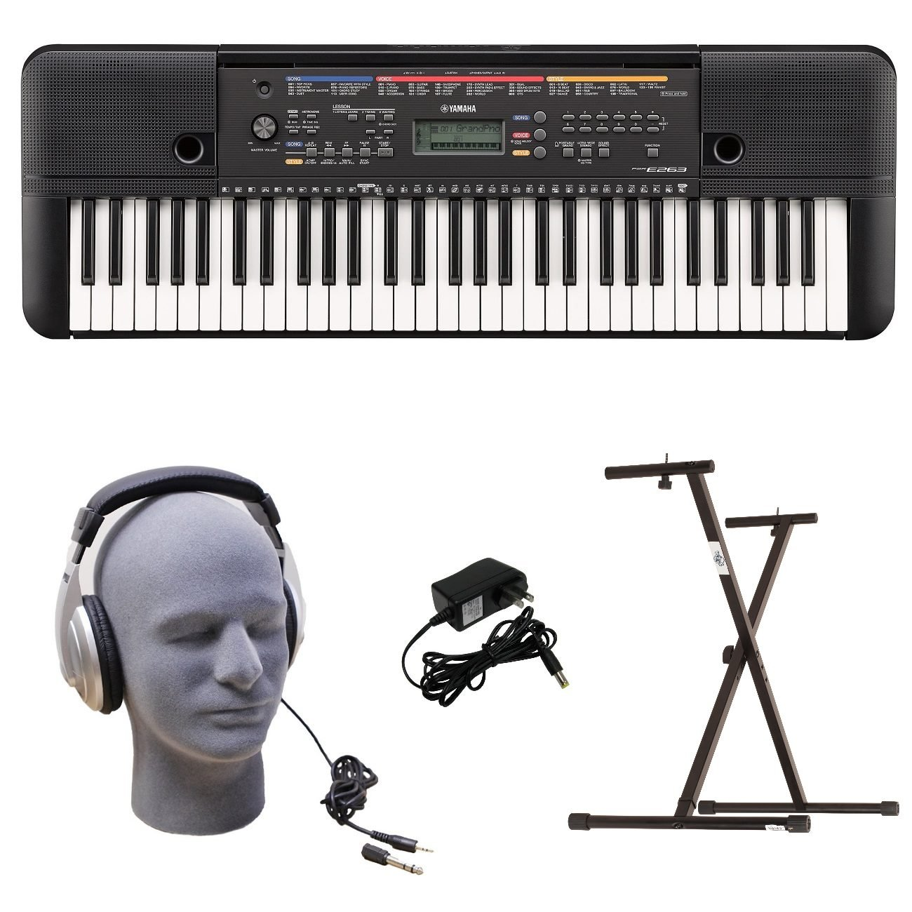 Yamaha PSR-E263 PKS 61-Key Premium Keyboard Pack with Stand, Headphones & Power Supply Yamaha PAC