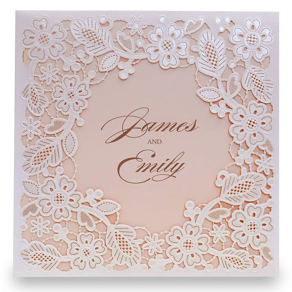 Doris Home Square White Laser-cut Lace Flower Pattern with Pink inner Wedding Invitations Cards (50)