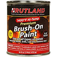$39 » Rutland Premium 1400 degree F Hi-Temp Brush-On Paint, 16 fl oz, Black