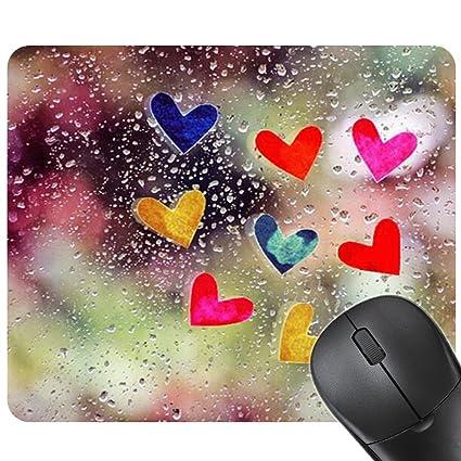 SHANF - Alfombrilla de escritorio para ordenador portátil, diseño de corazón, de cristal,