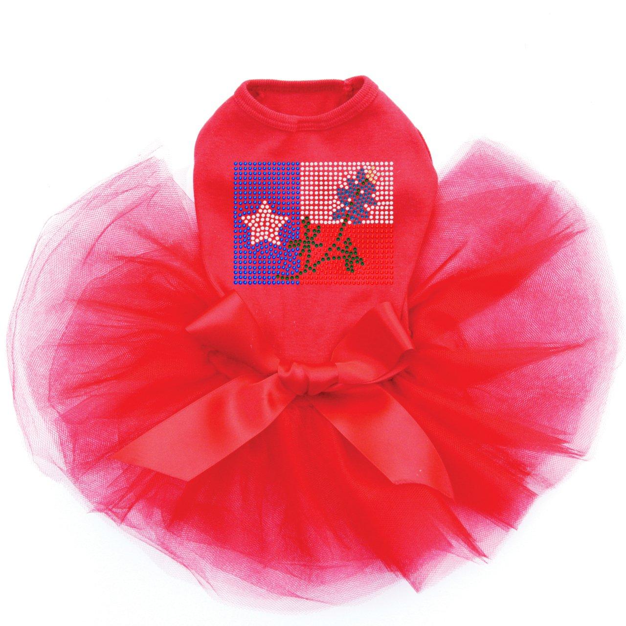 Texas Flag with Bluebonnet - Bling Rhinestone Dog Tutu Dress, 4XL Red by Dog in the Closet