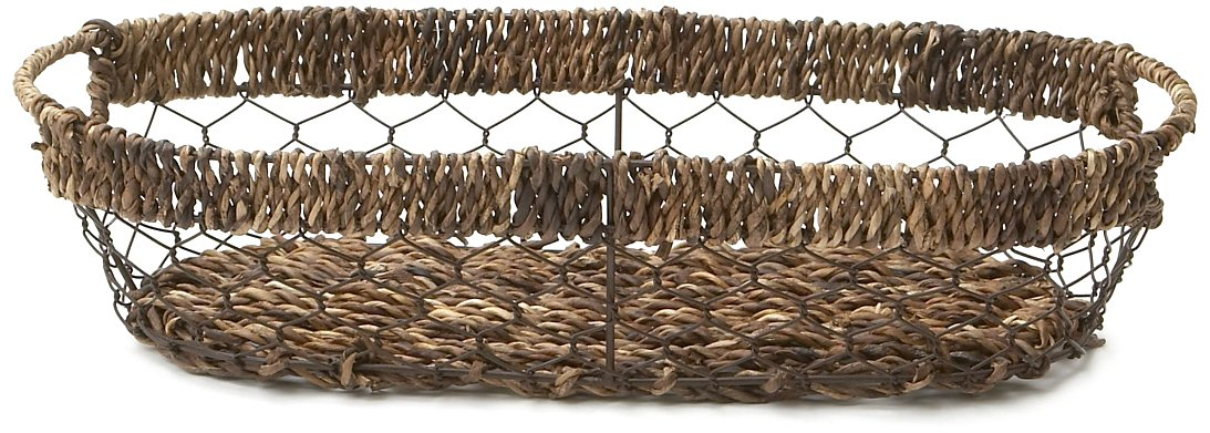 Long Woven Abaca & Wire Serving Basket Tray