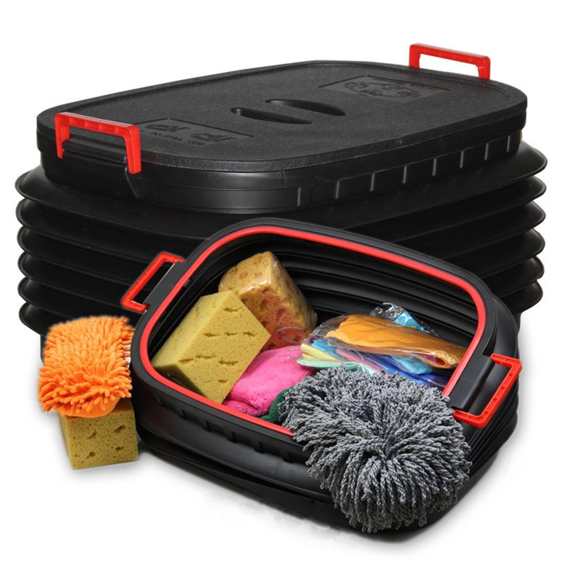 Car SUV Collapsible Plastic Bucket Box Water Fishing Barrel, Large Space Auto Foldable Garbage Bin Tidy Storage Cleaning Kit Tool Organiser 60L Zcar
