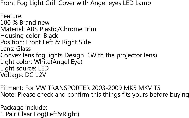Car 12V Front Bumper White Front Fog Lights Angel Eyes Lamp Cover Grille Set for V W TRANSPORTER MK5 MKV T5 2003-2009 Artudatech Fog Light