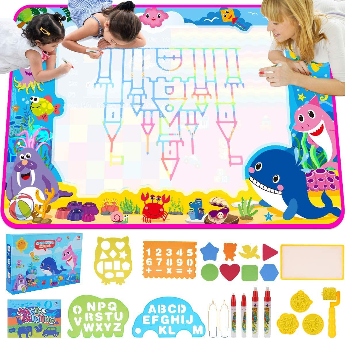 ESDPAL Aqua Magic Mat 60 X 40 inches Extra Large Water Drawing Doodle Mat Coloring Mat for Kids Toddlers 3 4 5 6 7 8 Year Old