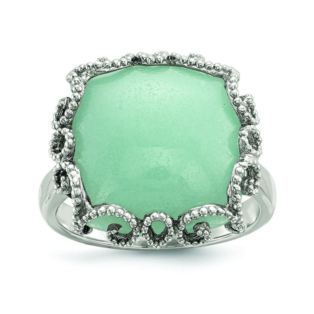 Sterling Silver With Amazonite Polished and Textured Ring - Size 6
