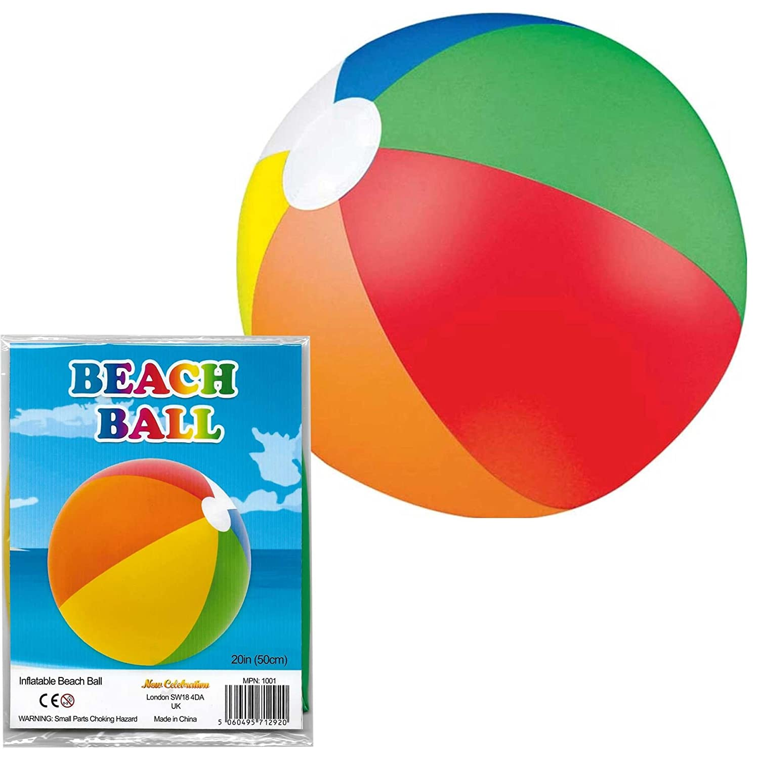 "New Celebration 20"" Inflatable Beach Ball Pool Party Multi Colour Kids Water Fun Play Summer 1pcs"