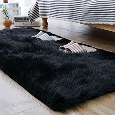 Amazon Com Carvapet Luxury Soft Faux Sheepskin Fur Area Rugs For Bedside Floor Mat Plush Sofa Cover Seat Pad For Bedroom 2 3ft X 5ft Black Home Kitchen
