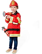 Melissa & Doug Fire Chief Role Play Costume Set, Pretend Play, Frustration-Free Packaging, Bright Red, 6 Pieces, 44.45 cm H x 60.96 cm W x 5.08 cm L