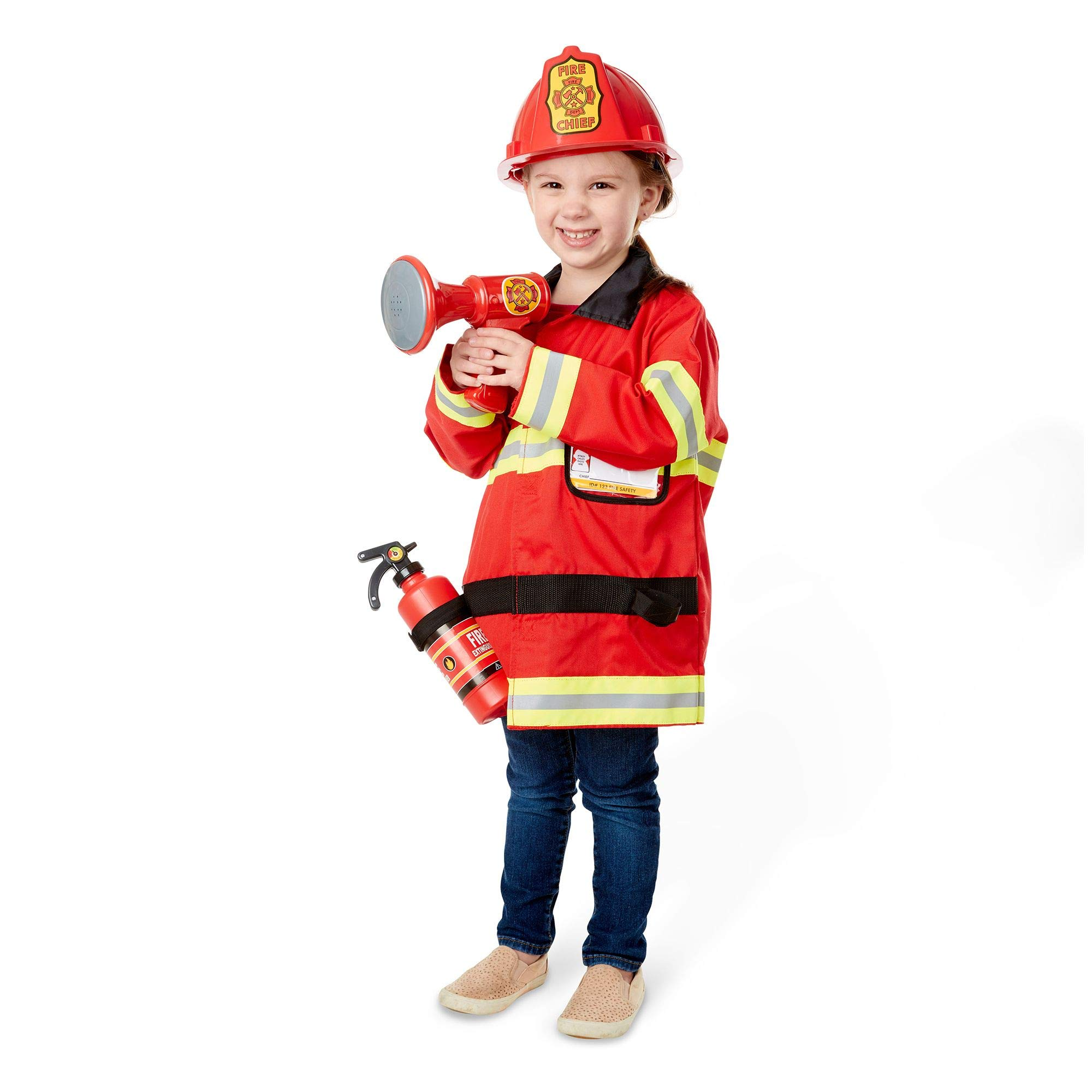 Melissa & Doug Fire Chief Role Play Costume Set, Pretend Play, Frustration-Free Packaging, Bright Red, 17.5'' H x 24'' W x 2'' L by Melissa & Doug (Image #5)