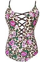 Sondiborn Swimwear Women's One Piece Criss Bandage Swimsuit Solid Color Floral Print Monokini