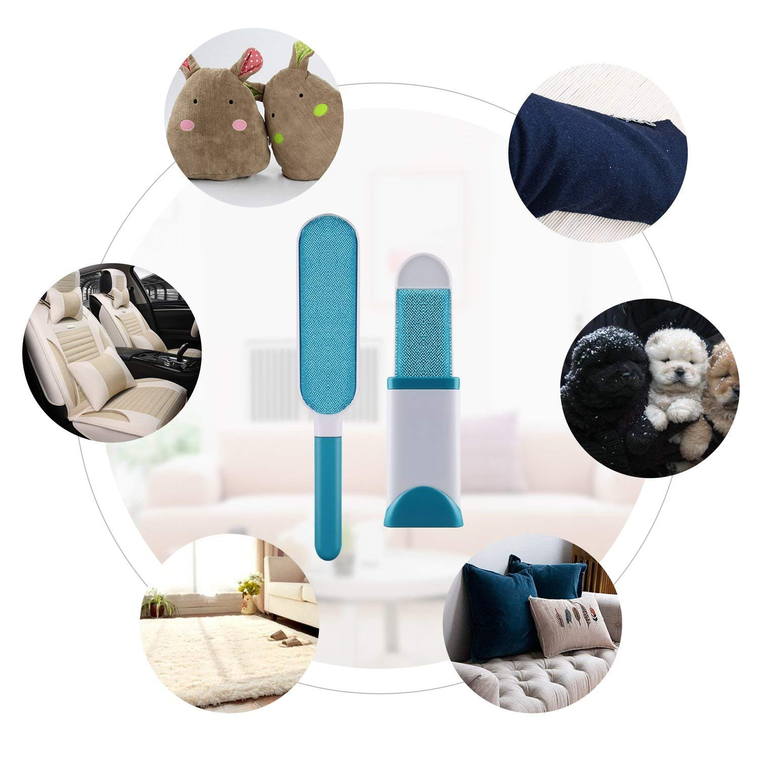 Fur Remover Pet Hair Clothes Lint, Reusable, Double-Sided Self-Cleaning Base Travel Size Brush. Improved Stronger Handle, Fabrics, Furniture, Carpets.