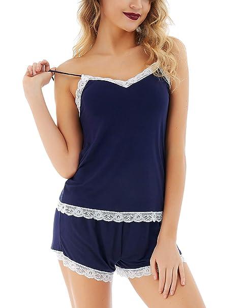 Dromild Ropa de Dormir para Mujer Pijama de Encaje Cami Short Sets Modal Ropa de Dormir
