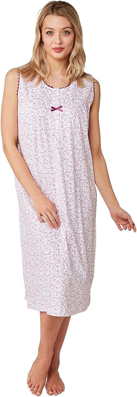 Taglia UK 8-26 undercover lingerie Camicia da Notte Floreale Senza Maniche in Cotone 100/% da Donna Blu o Rosa