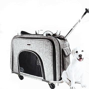 Cutepet Transportín Carrito Multiusos Mochila De Viaje Nylon para Perros Gatos Y Otros Animales Pequeños 2 En 1 Mochila Carrito 58 * 38 * 32 Cm,Gray: ...