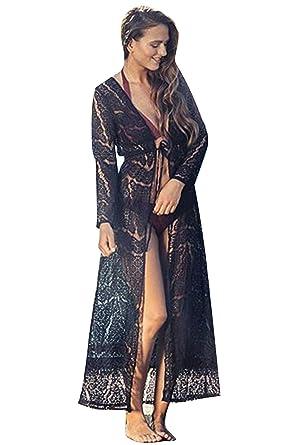 ec4d493df2 JOXJOZ Womens Maxi Beach Bikini Cover up Lace Floral Swimsuit Wrap Beachwear  (Black)