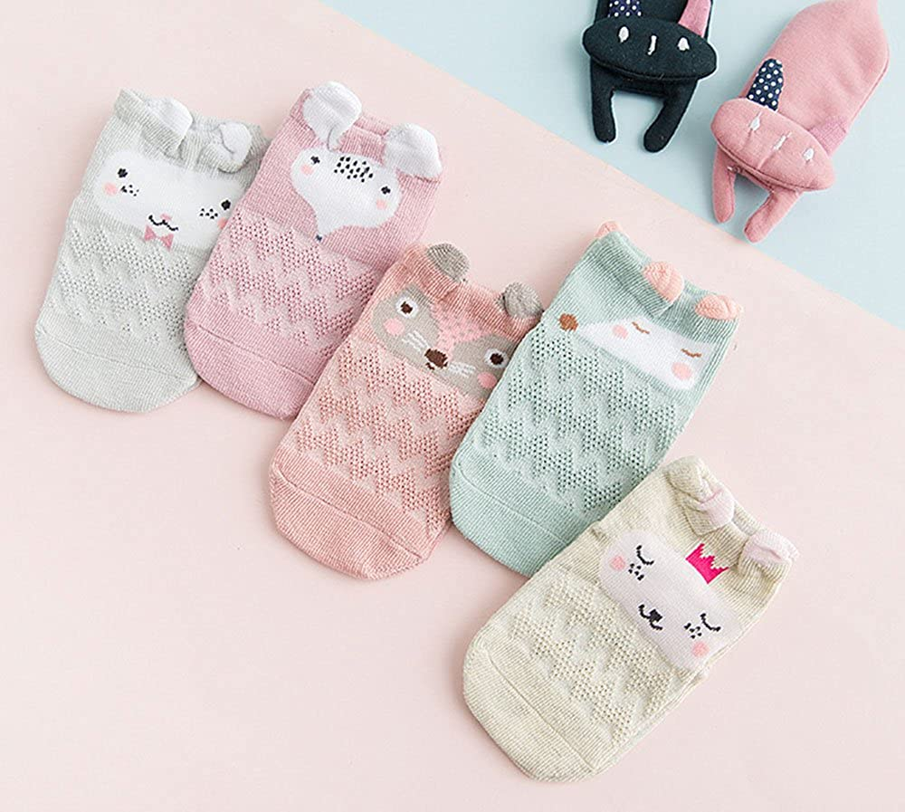Cute Baby Boys Girls Breathable Soft Cozy Low Cut No Show Ankle Socks 5 Pairs