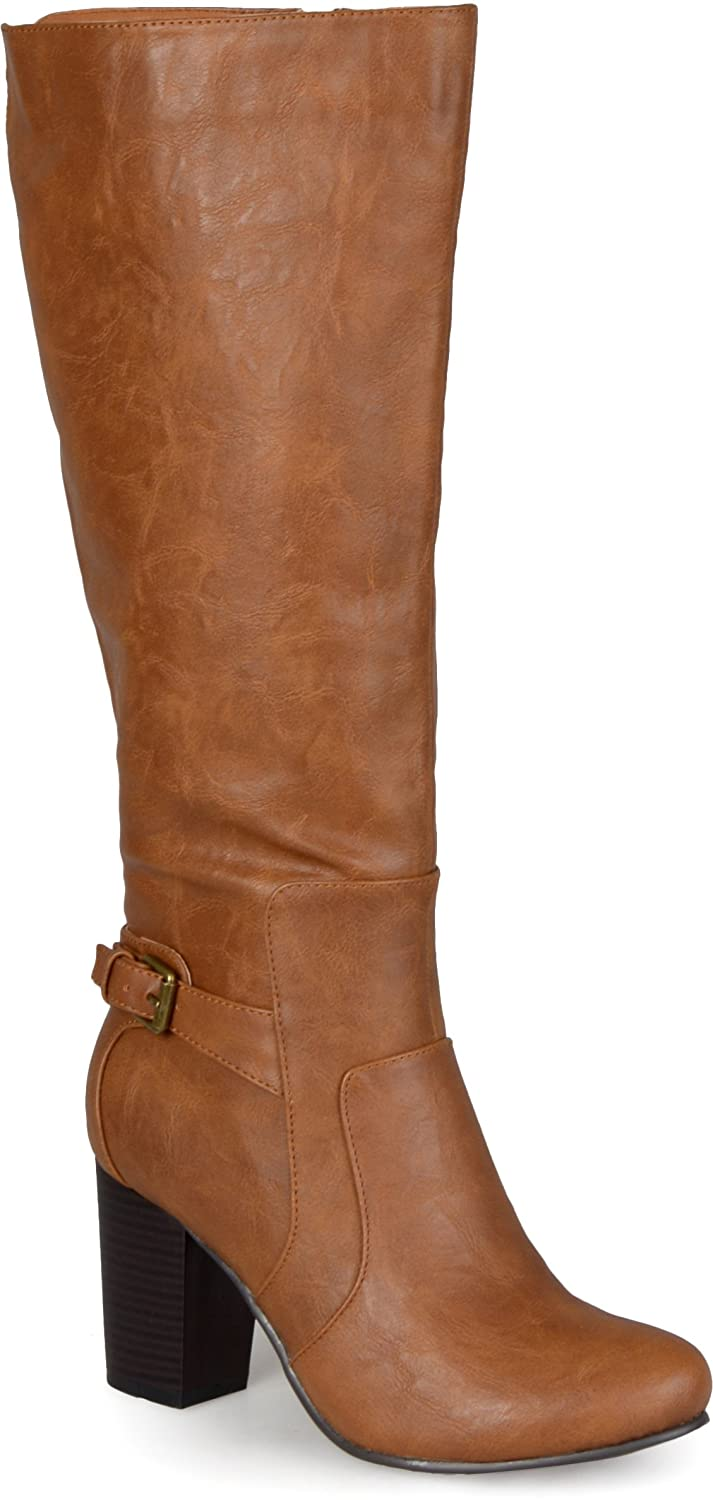 Women's Tan Knee High Buckle Strap Detail Block High-Heel Faux Leather Boots