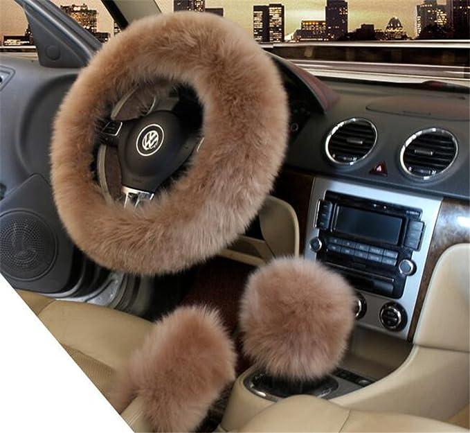 Lenkrad Bezug Für Den Winter 3 Teilig Für Damen Mit Bezug Für Handbremse Und Schaltknauf Plüsch Lange Wolle Hält Warm Auto