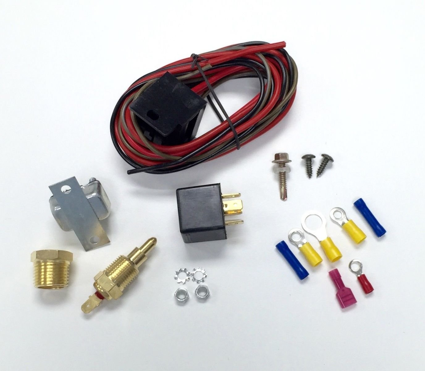 Pirate Mfg Hot Rod Electric Cooling Fan Wiring Install Flexalite Diagram Kit 200 185 Thermostat 50 Amp Relay Automotive