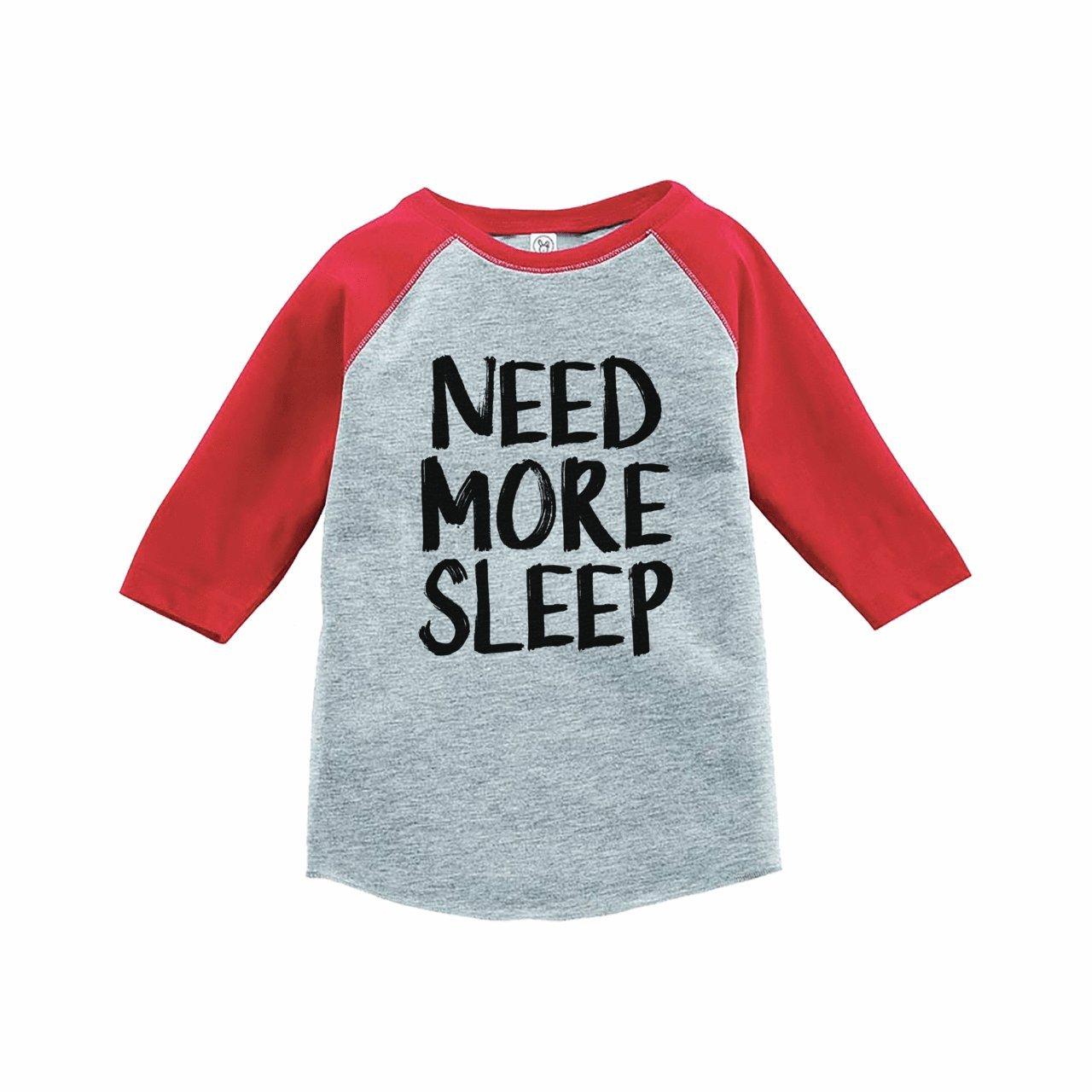 7 ate 9 Apparel Funny Kids Need More Sleep Baseball Tee Red