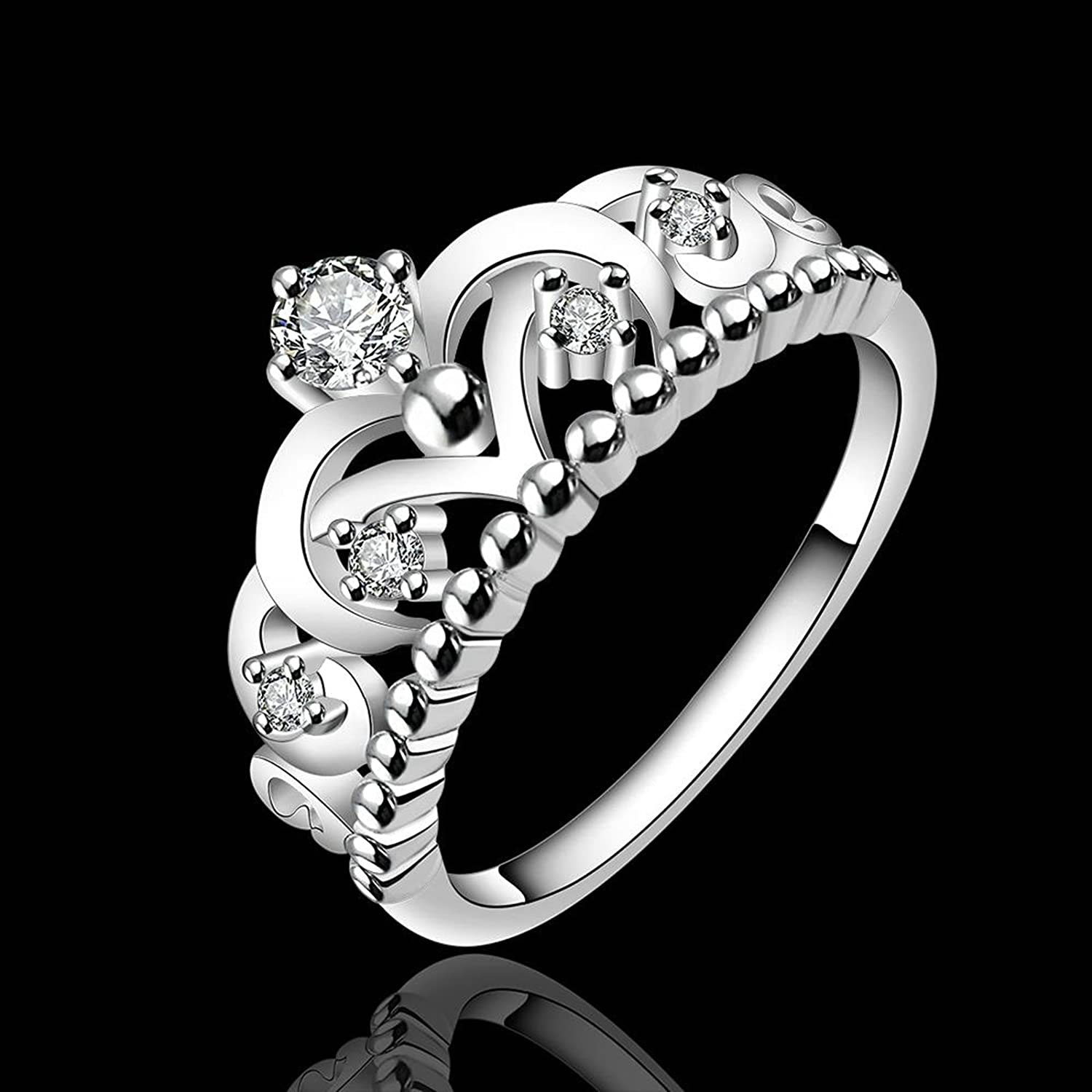 Gnzoe Fashion Jewelry Silver Plated Women Finger Rings Elegant Hollow Crown Form Wedding Band CZ Zircon