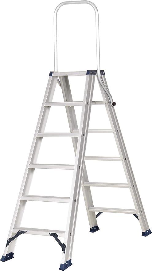 Escaleras de tijera de doble subida con plataforma, fabricada en aluminio de alta calidad, según norma UNE-EN 131. (8 peldaños): Amazon.es: Bricolaje y herramientas