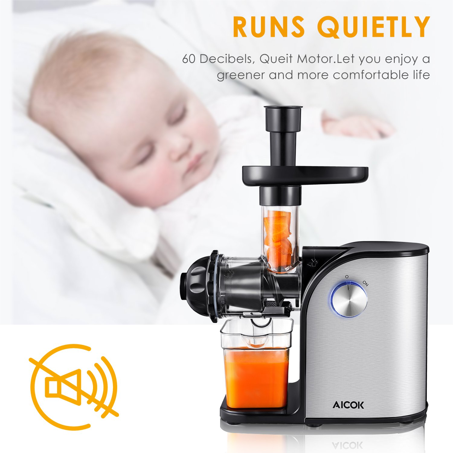 Aicok Slow Masticating juicer, Cold Press Juice Extractor, Stainless Steel, Quiet Motor, High Nutrient Fruit and Vegetable Juice, Black by AICOK (Image #4)