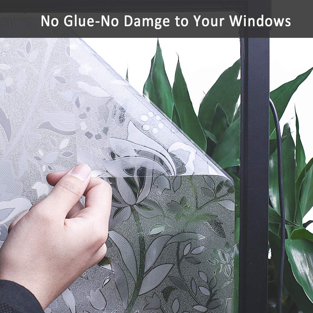 Mikomer Tulip Decorative Window Film,No Glue Frosted Privacy Film,Stained Glass Door Film,Reflective Window Decoration//Static Cling//Vinyl//Heat Control//Anti UV for Home and Office,35In by 118In.