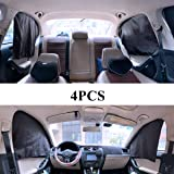 ZATOOTO Car Side Window Sunshades - Magnetic Privacy 4 Pcs Front Rear Protection Sun Shades Curtain Keeps Cooler for Kids Sle