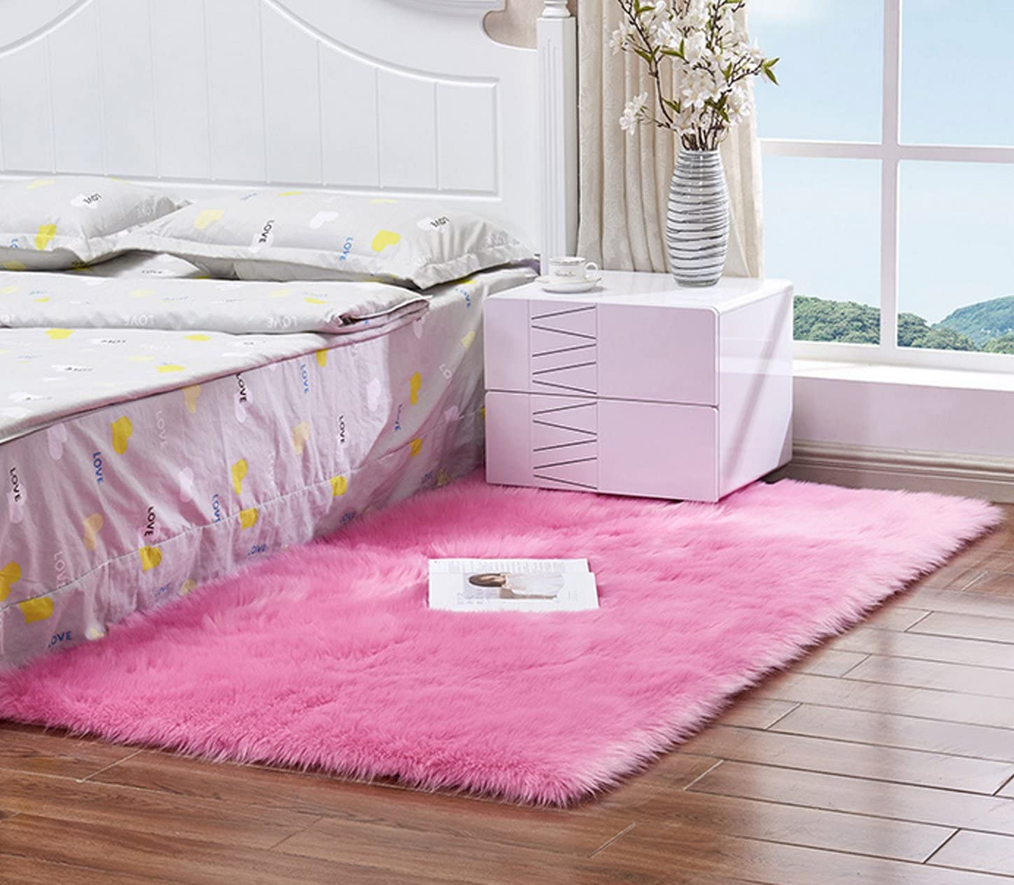 AUTENPOO Faux Fur Sheepskin Area Rug,Solid Shaggy Area Rugs for Living Bedroom Floor – Pink 2ftx3ft