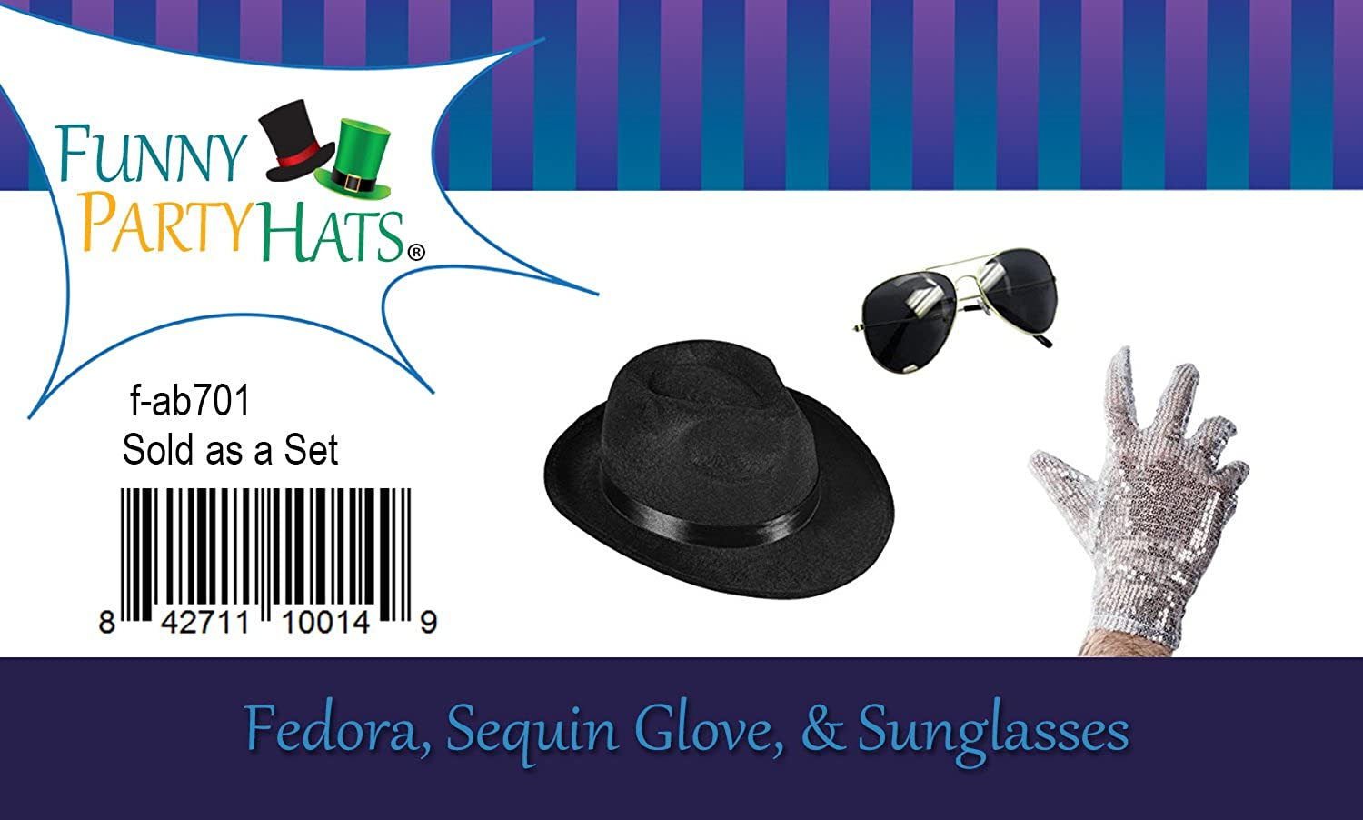 56558c83633c8 Amazon.com  Funny Party Hats Set of 3 - Fedora Hat Sequin Glove And  Sunglasses by (Fedora Hat Sequin Glove And Black Sunglasses)  Kitchen    Dining