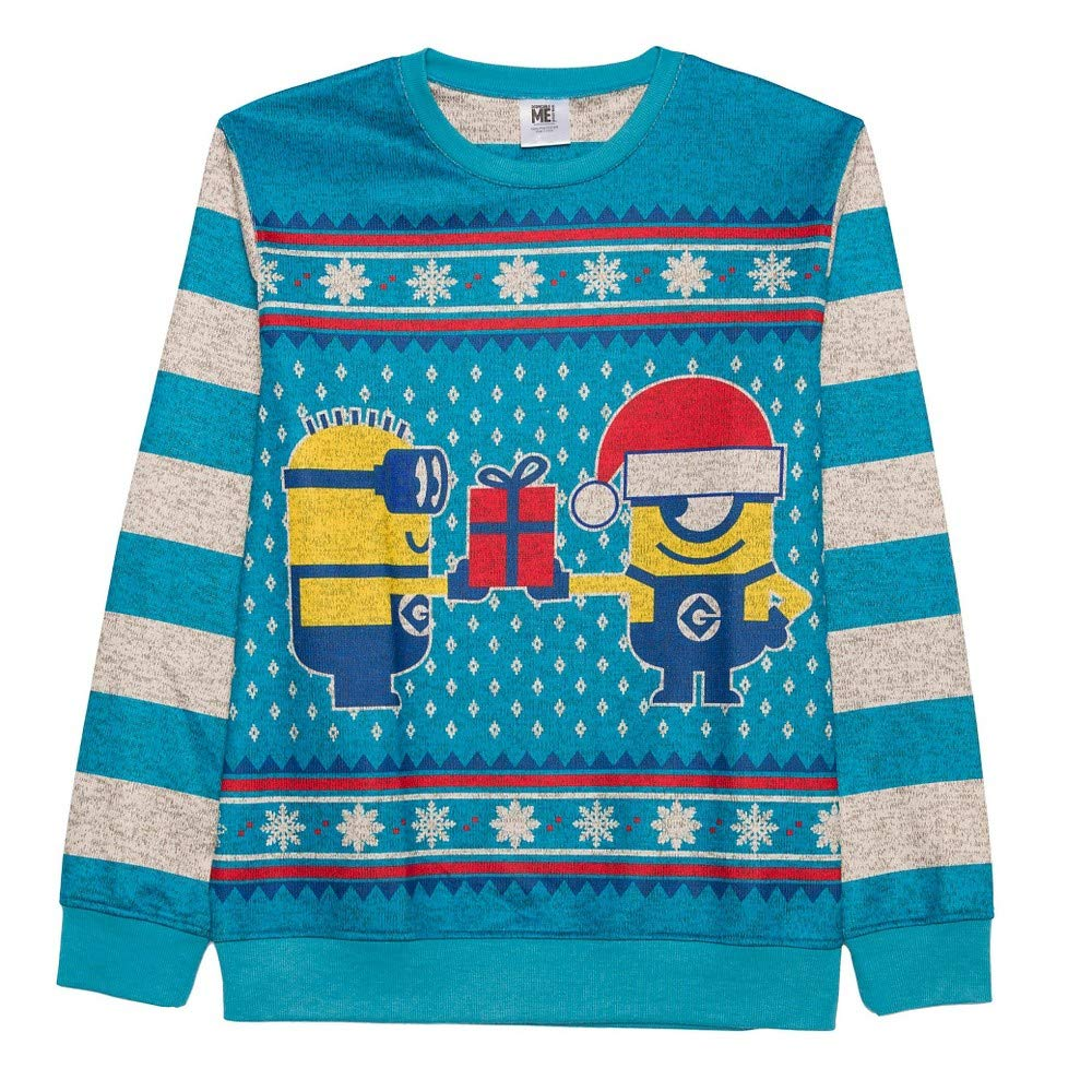 Despicable Me Men\'s Holiday Jam Sweater (X-Large Tall, Blue) Hybrid Men' s Tops