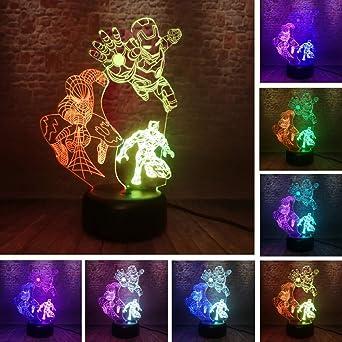 Super Iron Man Super Hero Panther 3D Lámpara De Escritorio Mesa 7 ...