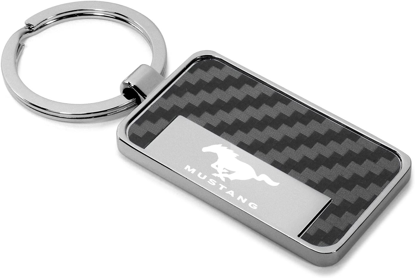 Ford Mustang Rectangle Black Carbon Fiber Vinyl Inlay Key Chain License Frame Inc