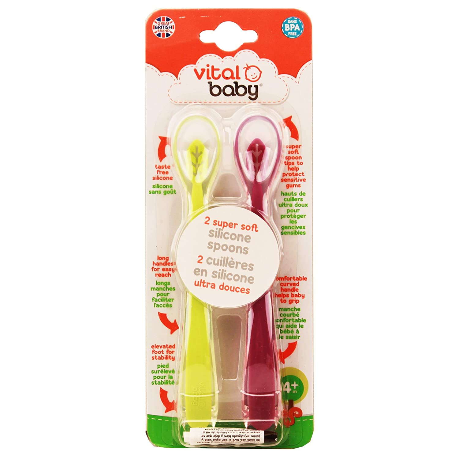Vital Baby 2 Piece Super Soft Silicone Spoons, Purple & Lime 43008