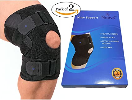 5972830d30 Noova Knee Support Neoprene Wrap Pad for Men & Women (Black) - Set of