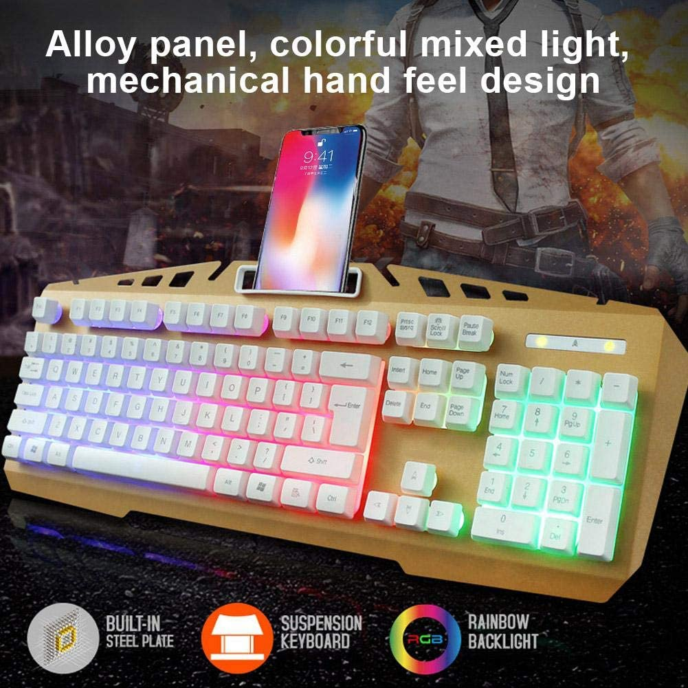 Tosuny KINGANGJIA X310 USB Keyboard Office Equipment Wired Keyboard Multimedia Keyboard for Work or Games or Studies Water-Proof and Mechanical Touch Design