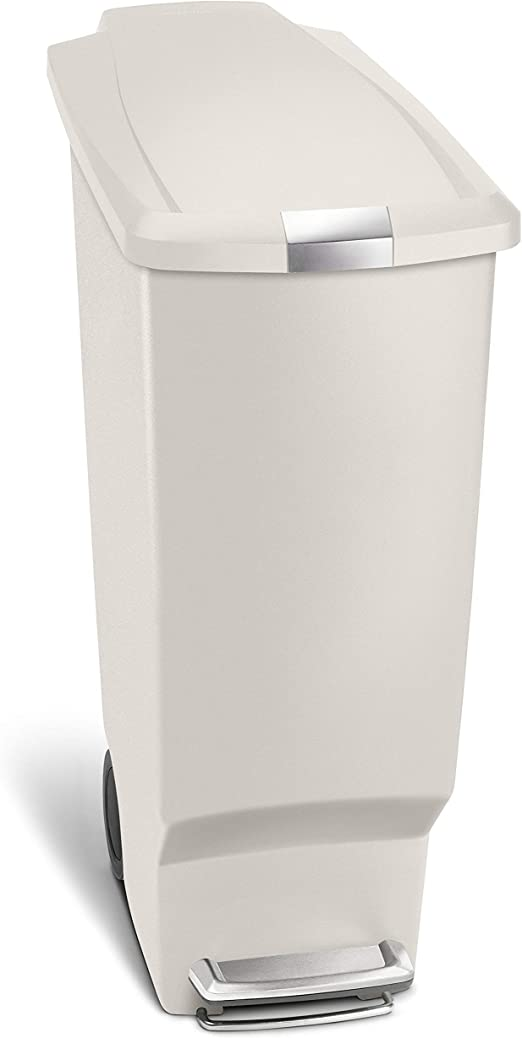 simplehuman 40 Liter / 10.6 Gallon Slim Kitchen Step Trash Can, Stone  Plastic With Secure Slide Lock