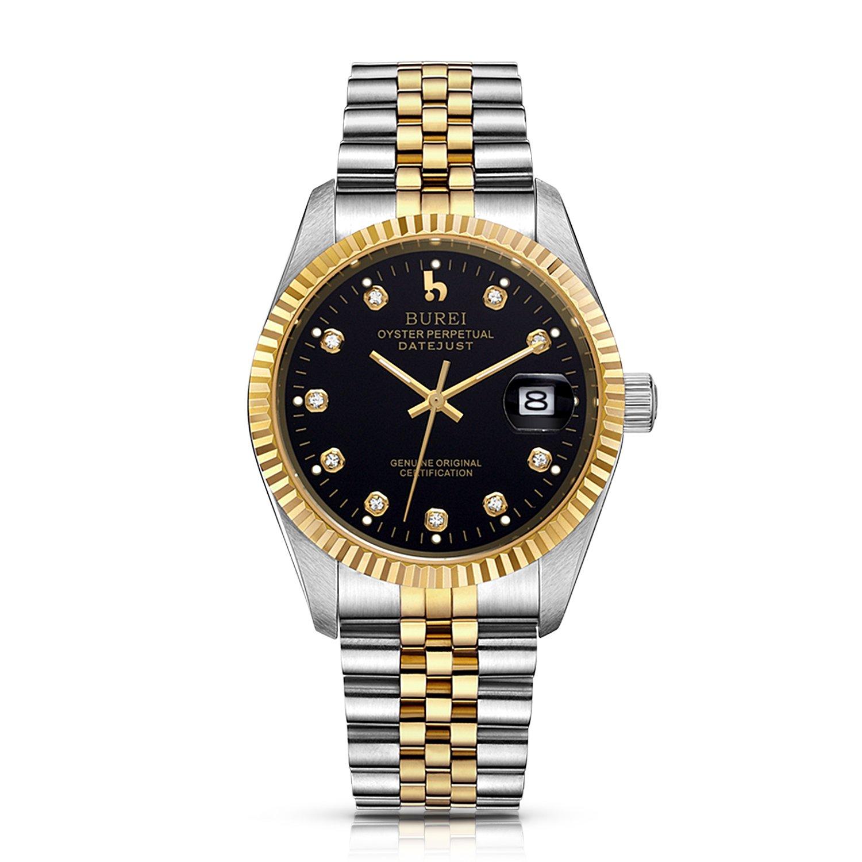 Burei® Herren-Armbanduhr im Business-Stil - klassisches Design - mit vergrÖßerter Datumsanzeige - Automatik-Armbanduhr