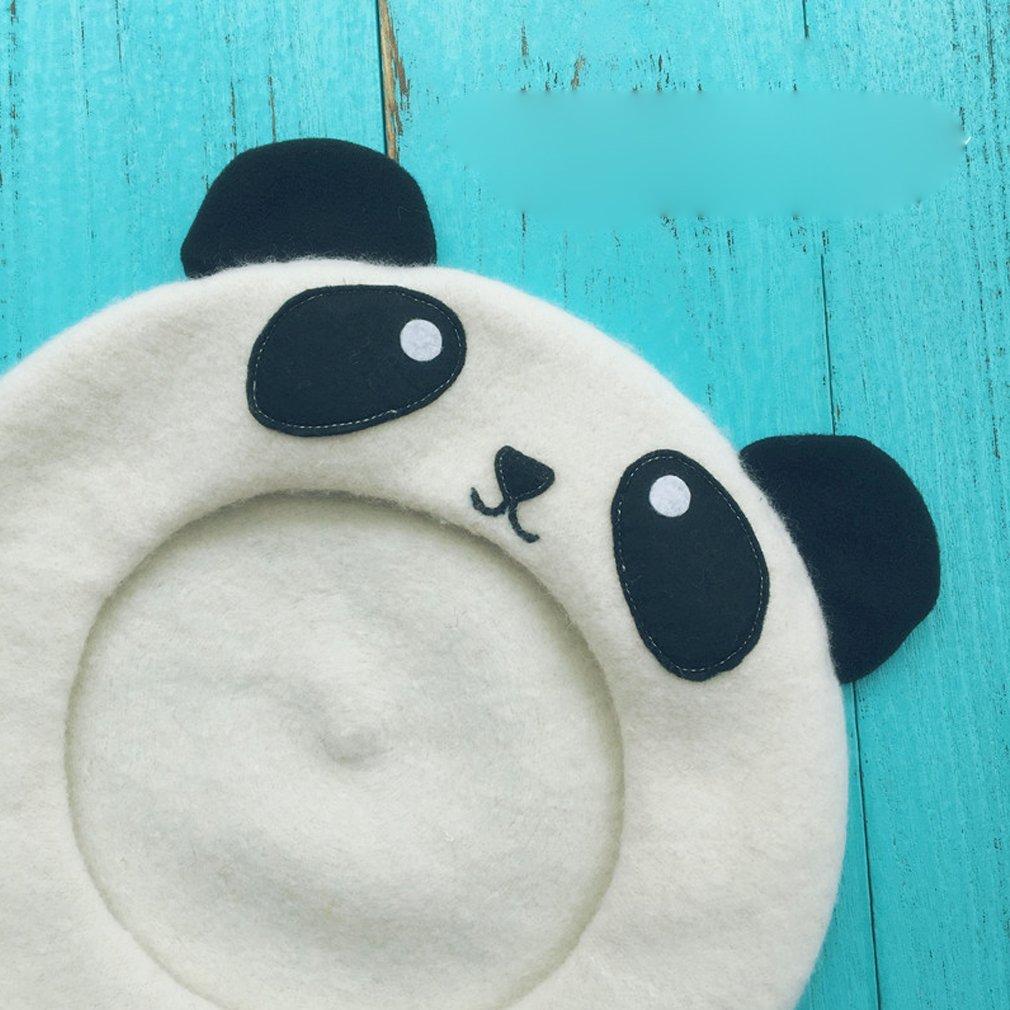ff6442fd0f310 hearty lady Kawaii Handmade Cartoon Beret hat Vintage Lolita Mori Girl Wool  Cap (panda) at Amazon Women s Clothing store