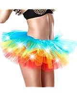 Women's Mini Tutu Skirt Rainbow With Led Light Up Tulle Costume Party Dance