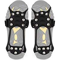 Wirezoll Antidérapant Traction Crampons en Acier Inoxydable pour Glace et Neige pour Chaussures/Bottes