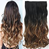 Neverland 24 Inches (60cm) Full Head Clip in Hair Extensions Ombre Wavy Curly Dip Dye 1B#/27#