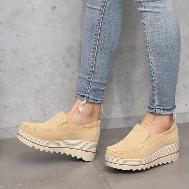 KPHY Damenschuhe Dicke Hintern Biskuitteig Schuhe Schuhe Schuhe Im Frühjahr und Herbst Dicke Hintern Slope-Schuhe Leder Mitte und Mutter Schuhe.Blau 40 0be0d3