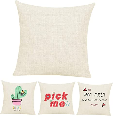justry 4 pcs sublimation blanks linen pillow cases 16 x 16 inch cushion cover throw pillow covers for chair sofa vinyl htv with invisible zippers diy
