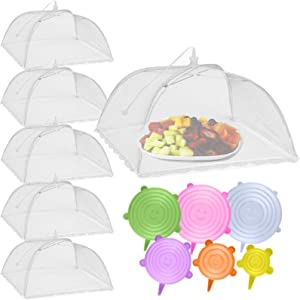 HULISEN 12 Pack Reusable Food Cover Kit, 6 Pcs Mesh Food Cover and 6 Pcs Silicone Stretch Lids, Food Tent for Outdoors, Party, Picnic, Expandable Silicone Lids to Keep Food Fresh
