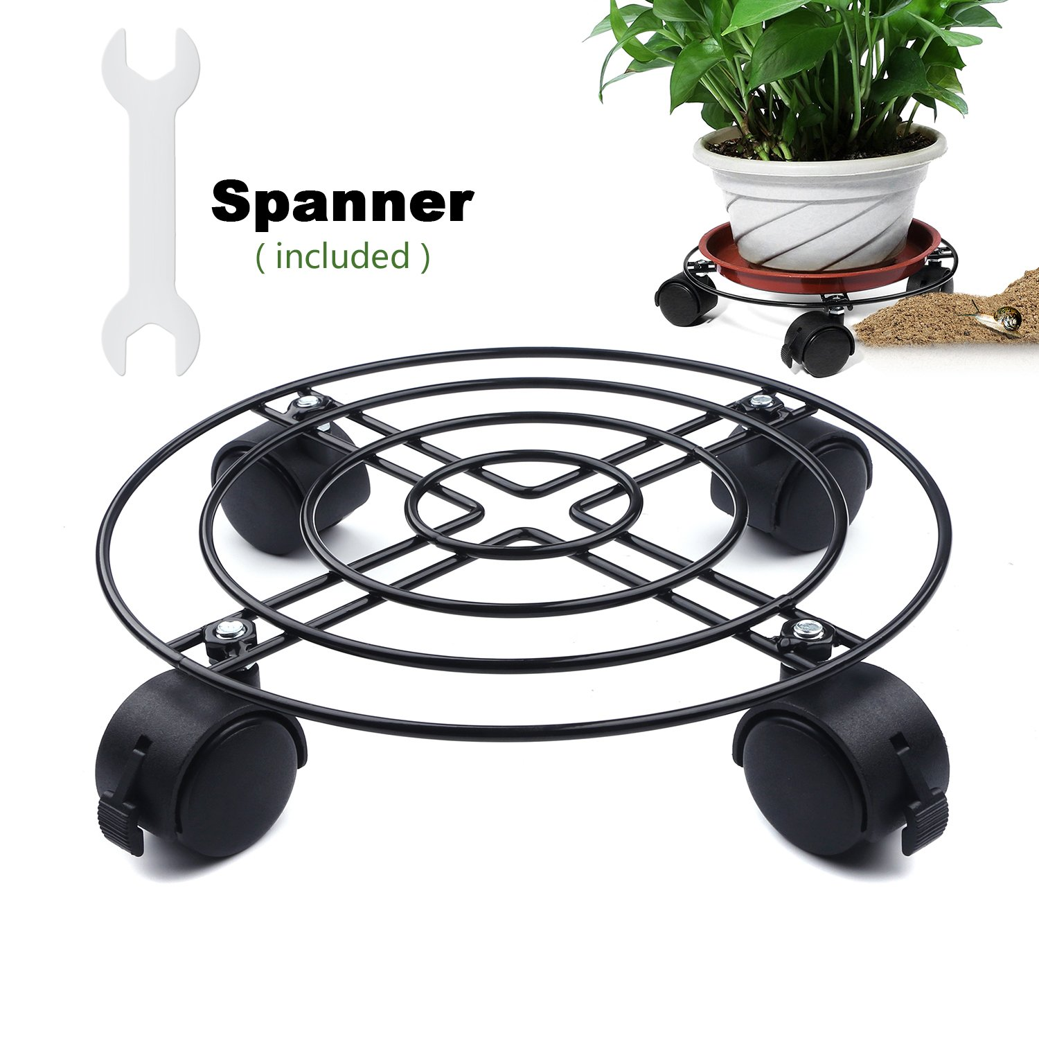 Heavy Duty Black Iron Plant Caddy - 88LB 10''-12.5'' Metal Plant Stand with wheels Round Flower Pot Rack Plant Stand On Rollers Dolly Plant Holders on wheels Indoor Outdoor Plant Saucers by Green Bean